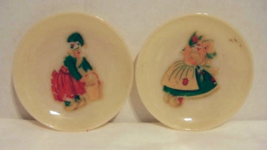 2 Decorated Fire King Ivory Saucers    HTF - $10.00