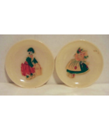 2 Vintage Decorated Fire King Ivory Saucers    HTF - $9.99
