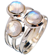 Adorable Three Rainbow Moonstones Ring, 925 Sil... - $26.00