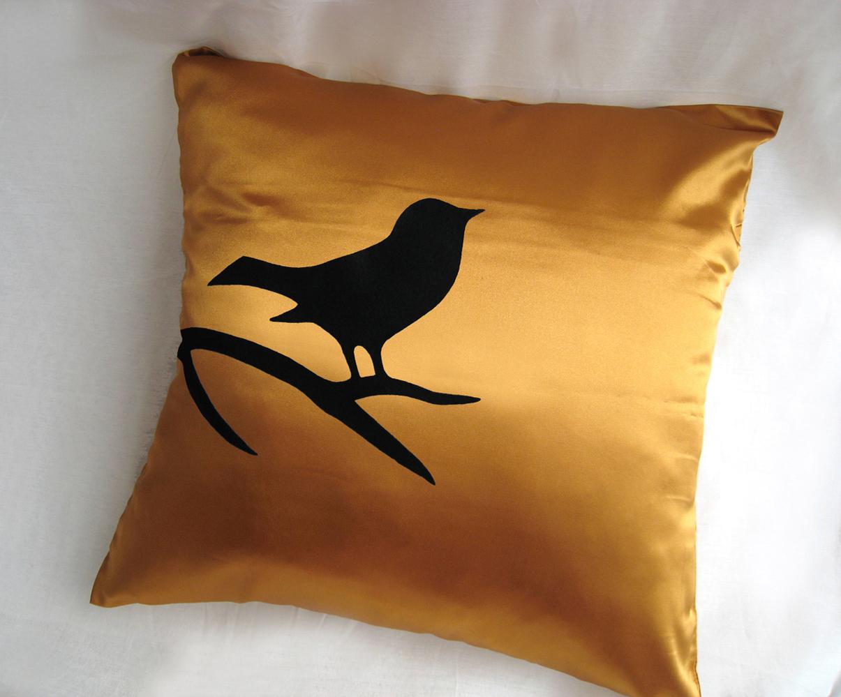 Handmade Bird On Brunch Aqua Blue And Black Pillow Cover. Modern Bird Cushion - Pillows