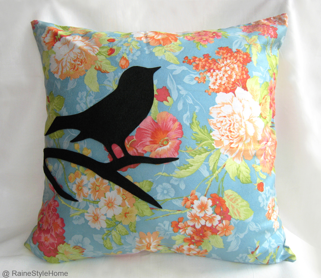 Handmade Modern Pillow Covers : Handmade Bird On Brunch Aqua Blue And Black Pillow Cover. Modern Bird Cushion - Pillows