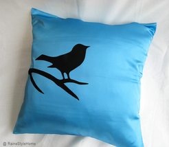 Handmade Bird On Brunch Aqua Blue And Black Pillow Cover. Modern Bird Cu... - $37.50