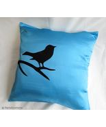 Handmade Bird On Brunch Aqua Blue And Black Pillow Cover. Modern Bird Cu... - $37.50