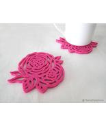 6 Pieces Summer Rose Fuchsia Rose Felt Coasters Set. Hot Pink Flowers Co... - $22.90