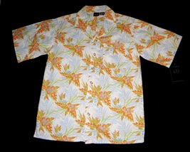 BOYS 18 / 20 - IZOD - Orange-Blue-Green Tropical Print on Cream - HAWAII... - $13.99