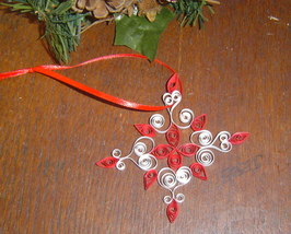 Paper Quill Snowflake Ornament Red- Handcrafted - $9.99