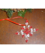 Paper Quill Snowflake Ornament Red- Handcrafted - $7.95