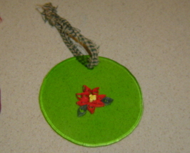 Paper quilled green glass and poinsettia ornament, Handcrafted - $9.99