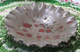 Vintage Mid Century Speckle Glaze Ruffled Edge Candy Dish Bowl - $11.25
