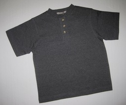 BOYS 4 / 5 - Rock L.A.  - Charcoal Gray 100% Cotton Jersey Henley Style ... - $8.92