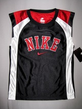BOYS 6 - Nike - Black-White-Red BASKETBALL SPORTS JERSEY - $18.23