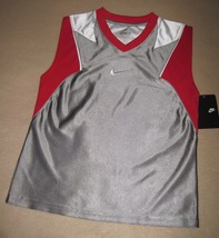 BOYS 6 - Nike - Flight Grey-Red-White BASKETBALL SPORTS JERSEY - $18.23