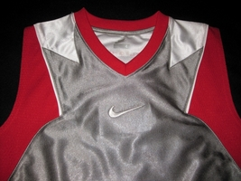 BOYS 6 - Nike - Flight Grey-Red-White BASKETBALL SPORTS JERSEY image 6