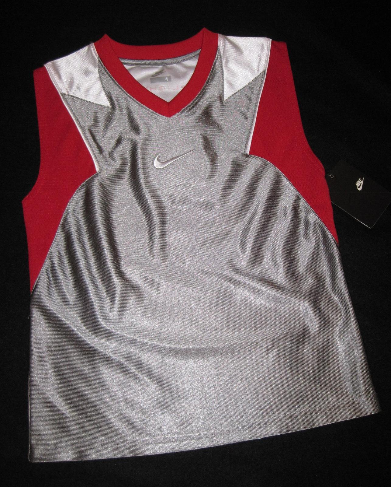 BOYS 6 - Nike - Flight Grey-Red-White BASKETBALL SPORTS JERSEY image 10