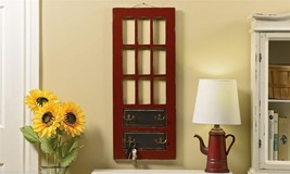 "30"" High Rustic Hanging Red Door Design Wall Plaque - 4 Double Metal Hooks"