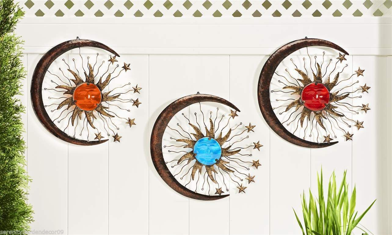 Set of 3 - Sun, Crescent Moon & Stars Fusion Glass & Iron Wall Plaques Celestial