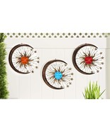 Set of 3 - Sun, Crescent Moon & Stars Fusion Glass & Iron Wall Plaques 3... - $89.09