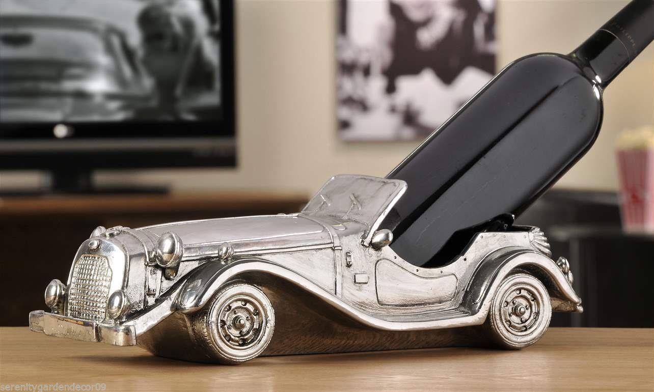 "13"" long Vintage Car Wine Bottle Holder - Antiqued Silver Finish Polystone NEW"