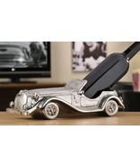 "13"" long Vintage Car Wine Bottle Holder - Antiqued Silver Finish Polystone - $64.34"