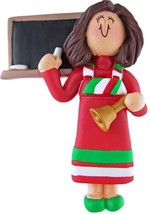FEMALE WOMAN TEACHER ORNAMENT CHRISTMAS PRESENT GIFT PERSONALIZE FREE PR... - $11.83