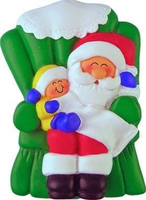 SANTA WITH A CHILD ON LAP CHRISTMAS ORNAMENT GIFT PRESENT PERSONALIZED NAME FREE - $9.80