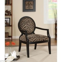 Zebra Print Accent Chair  Modern Wood Unique Living Room Wood Round Bedr... - $242.83