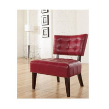 Red Office Chair Armless Over Sized Big Wide Leather Unique Home Living ... - $193.83