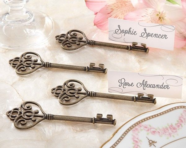 24 Key to My Heart Victorian Style Place Card Photo Holders Wedding Vintage