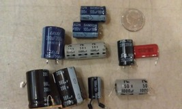 9V12 ASSORTED CAPACITORS: 8PCS, 100-2200MF, 25-200V, VERY GOOD CONDITION - $9.00