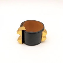 NEW Authentic Hermes Black CDC Collier DeChien Leather Gold Bracelet Cuff PM image 4