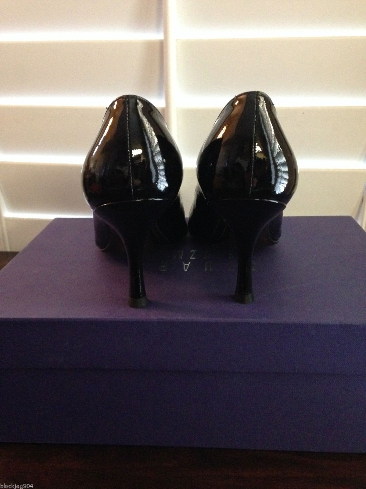 STUART WEITZMAN DAPHNE PEEP TOE PATENT LEATHER PUMP - BLACK - Size 6.5 - New