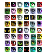 creepy evil creature eyes printable collage sheet monsters zombies downl... - $3.99
