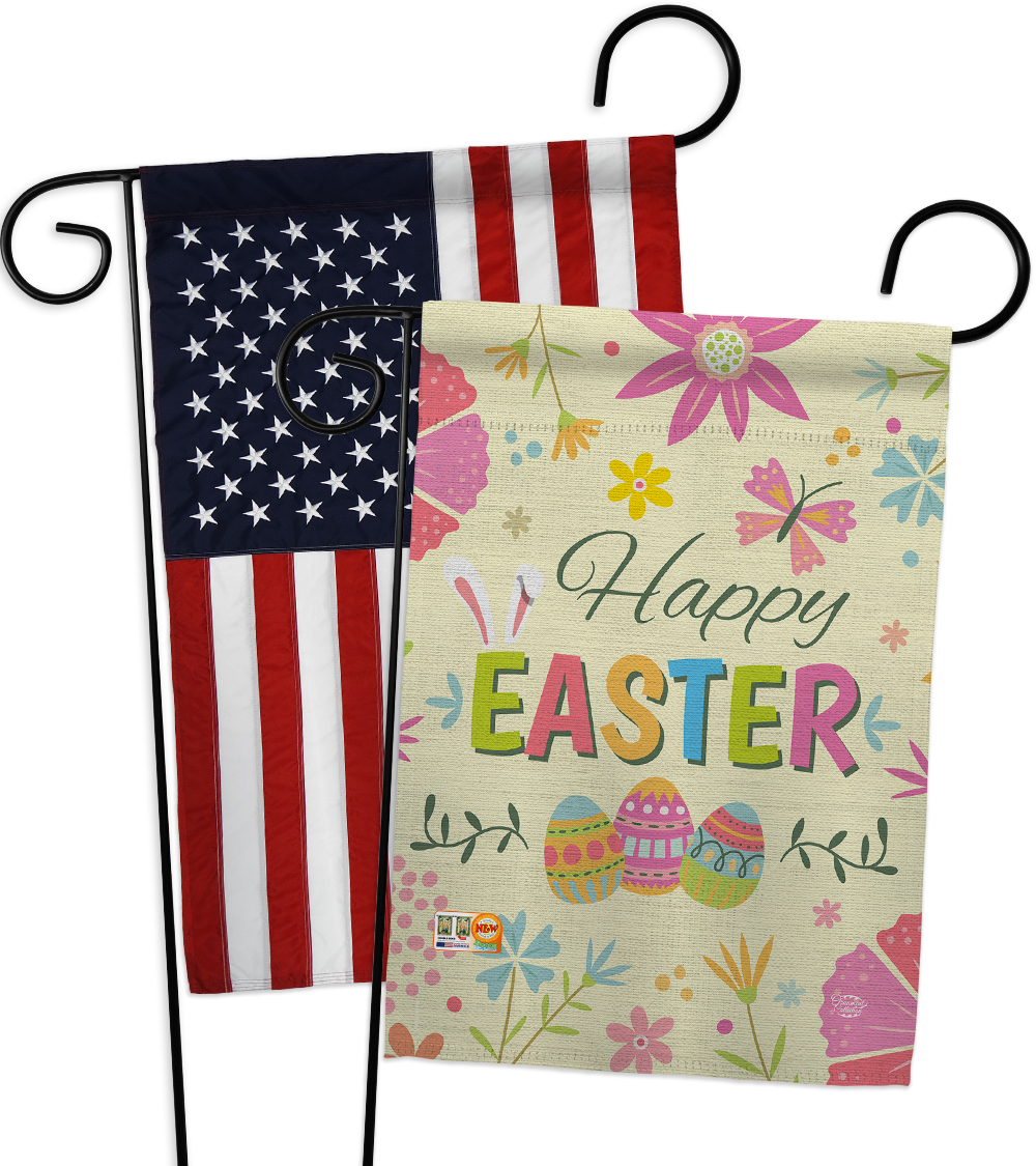 Happy Easter Colourful Flowers - Impressions Decorative USA - Applique Garden Fl - $30.97
