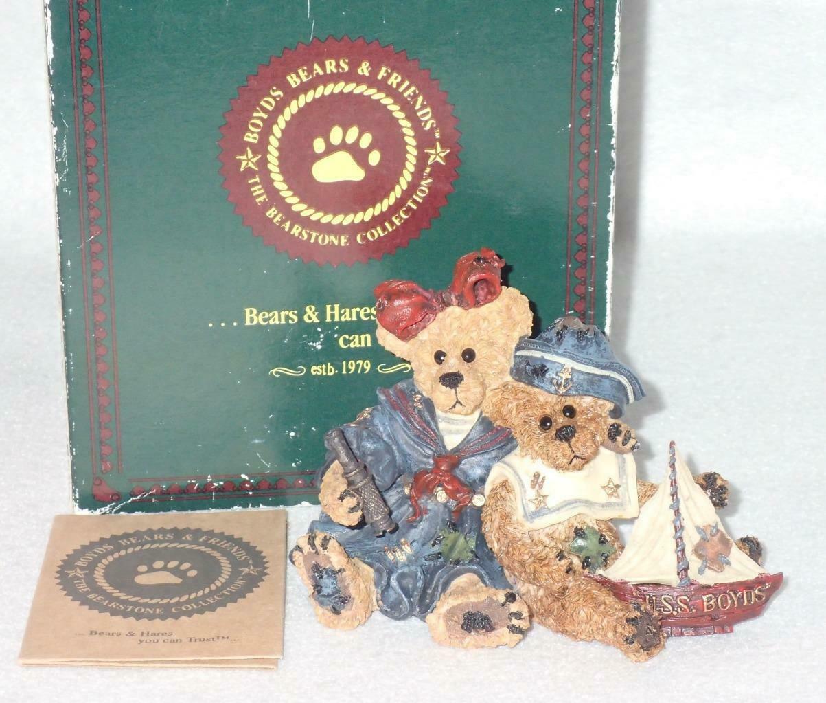 Boyd Bearstone Resin Bears 1998 Elvira and Chauncey Fitzbruin Shipmate Figurine image 3
