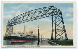Steamer Huronic Lift Bridge Duluth Superior Harbor Minnesota 1920s postcard - $6.93