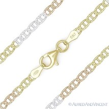 2.8mm Marina Mariner Link 3-Tone Sterling Silver 14k Gold Rhodium Chain Necklace - $25.73 - $27.66