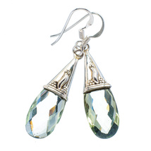Beautiful Light Green Amethyst Drop Earrings, 925 Silver - $26.00