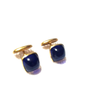 Vintage Cuff Links Victorian Style Bean Back Brass and Blue Lapis Color ... - $35.00