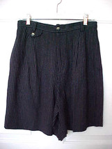 Lizsport Liz Claiborne Size10 Dark Navy Pin Stripe Shorts 100% Rayon Dressy - $14.99