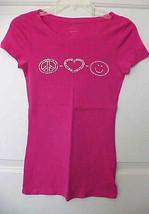 Old Navy Juniors Skinny T-Shirt Sz S/P Hot Pink Short Sleeve Embellished - $9.20