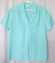 Vintage 1980s Womens Blouse M Aqua Koret of California Short Sleeve - $9.86