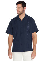 vkwear Men's Guayabera Short Sleeve Dress Shirt Navy Size XL Navy New /w Defect