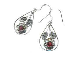 Beautiful Genuine Indian Garnet Earrings, 925 Silver - $26.00