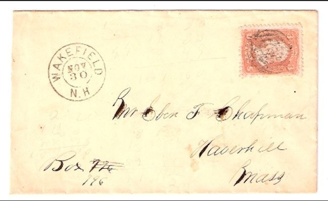 c1861 Wakefield, NH Discontinued/Defunct Post Office (DPO) Postal Cover