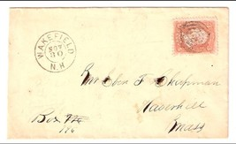 c1861 Wakefield, NH Discontinued/Defunct Post Office (DPO) Postal Cover - $8.99