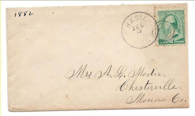 1882 Basil, OH Discontinued/Defunct Post Office (DPO) Postal Cover