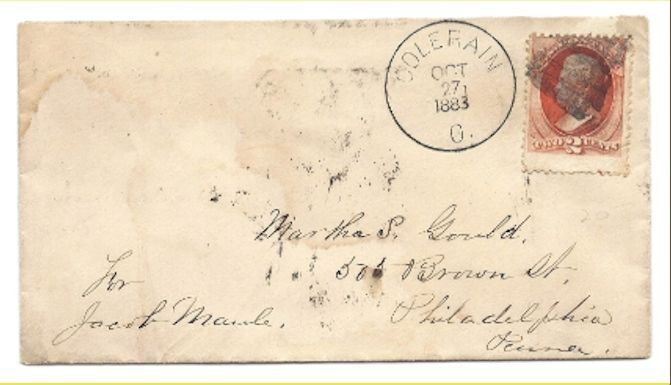 1883 Colerain, OH Discontinued/Defunct Post Office (DPO) Postal Cover
