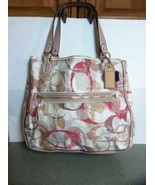 NWT COACH SIGNATURE LARGE POPPY STAMPED C HALLIE E/W TOTE 23377 DUST BAG... - $189.99
