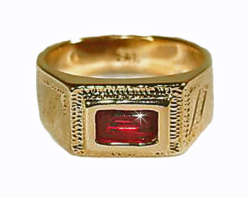 Baby Boys 18k Skillus Gold Ring With Red Cz Lead And
