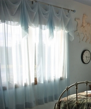 JC Penney Light Blue Sheer Curtains 2 Window Treatment Set ----9 Pieces - $44.99